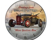 Vintage metal wall clock, Greetings from Bonneville salt flats , hot rods, racing, cars, man cave decor
