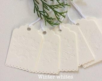 Set of 10 Snowflake Christmas Holiday Tags