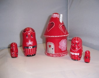 Hand painted Valentine House stacking nesting doll set