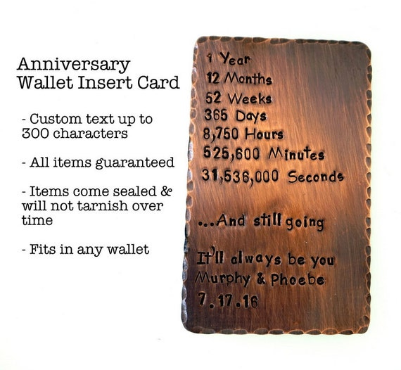 Wallet Insert Card - Copper Hand Stamped - Anniversary Gift - Husband Gift, Boyfriend Gift, Wife Gift, Girlfriend Gift, Aluminum, Bronze