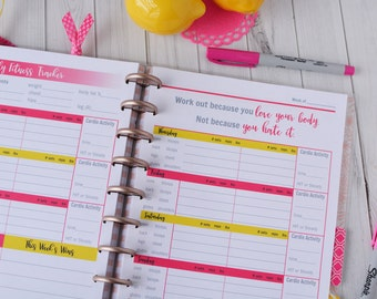 52 Wk Happy Planner FITNESS PLANNER Printable workout insert pages Pink/Yellow MAMBI, Create365, 7 x 9.25 Classic Workout tracker