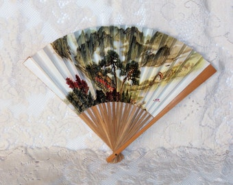 Wooden Paper Folding Hand Fan Oriental Trees Bridge Mountains Vintage