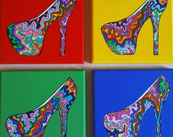 """Colorful 4 panel funky high heel shoe paintings- 8"""" X 8"""" Canvases"""