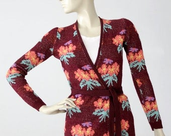 SALE 1970s Betsey Johnson Alley Cat wrap sweater, vintage floral top