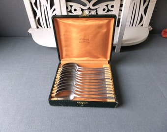 Dated 1930 Vintage  French silver plated  tea spoons set of 12 Flatware