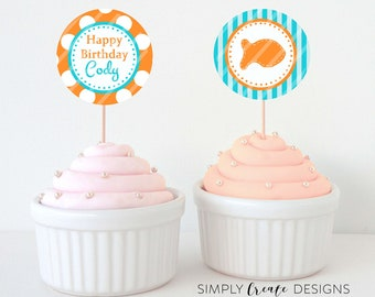 SALE Goldfish Cupcake Toppers DIGITAL File 8.5  x 11 JPEG File Personalized