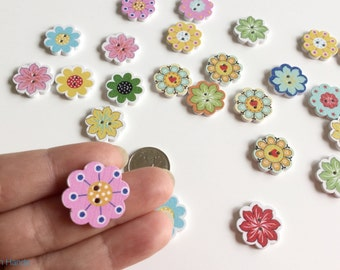 10 pcs. Small flower shaped buttons for scrapbooking or knits