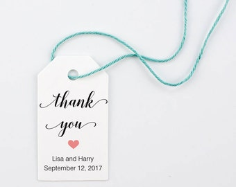 Wedding Favor Tags, Thank You Tags, Bridal Shower, Party Favor, Customized Favor Tags - Set of 25, 1.2 x 2.25 inches, BELA