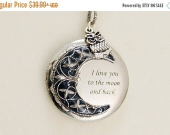 ON SALE Personalized Locket Necklace,Owl Locket,Moonlight Owl,Silver locket-I love you to the moon and back,Jewelry,Bridesmaid Necklace,Wedd