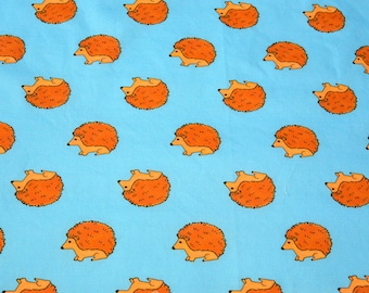 Happy Hedgehogs on turquoise basic cotton fabric - Half Yard ready to ship