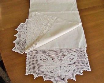 Vintage Linen Table Runner Filet Crochet Butterfly Ends Dresser Scarf Linen Runner Butterfly Cloth Vintage 1960s