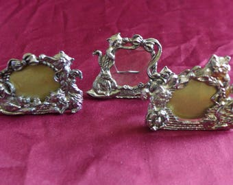 Vintage Kitty Cat Mini Picture Frames / Set of Three