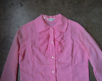 Vtg 70's Pink Ruffle Yoke Oxford Peasant Blouse Size Small Medium