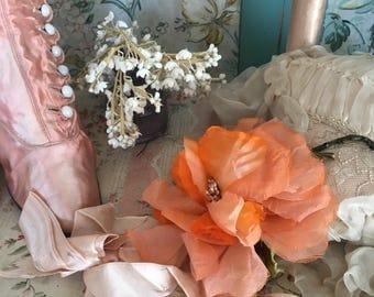 Vintage Millinery Fabric Flower Rose Peach Orange Shabby Chic