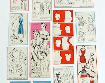 Vintage fashion scrap pack, 1950's fashion, sewing theme, paper ephemera pack, collage paper pack, eco-friendly crafting