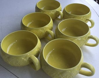 Set of 6 Vintage Secla Portugal Yellow Cabbage soup cup coffee mug - Vintage Majolica Portugal Cabbage Pottery