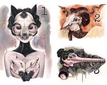 YOU CHOOSE 8 Carlations Skull Masquerade watercolor art print set of 8 by Carla Wyzgala