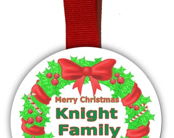 Personalized Christmas Tree Ornament with Holiday Graphics. Comes with Family name and Year