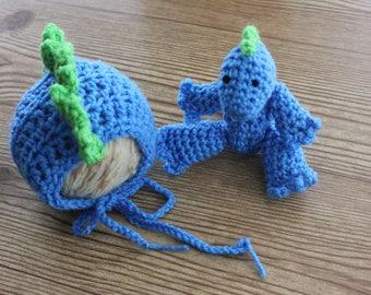 Dinosaur Bonnet and Stuffed Animal, crochet bonnet,newborn prop,boy, newborn,blue, green,photography prop
