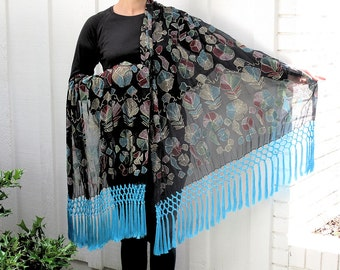 Black Shawl with Chikan Work Embroidery and Feminine Silk Fringe by the Old Silk Route