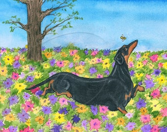 Black and Tan Dachshund Spring Flowers Art Poster/Print of Wiener Dog