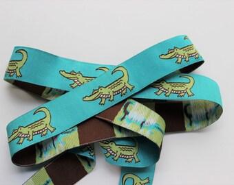 Woven jacquard ribbon alligator green blue preppy trim