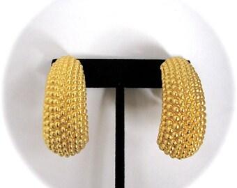 Vintage STATEMENT Large Gold Knobby Half Hoop Clip On Earrings