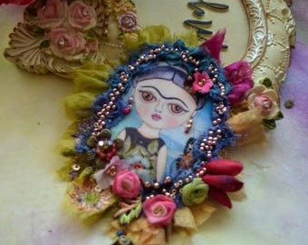 Beautiful gypsy romantic brooch fairy textile art jewelry embroidery tattered shabby chic broch Romantic  Frida with Roses