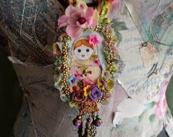 Bohemian necklace art to wear gypsy fairy necklace Matryoshka  mixed media art necklace romantic artsy necklace
