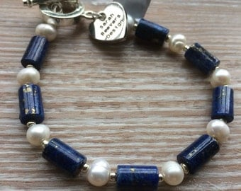 Lapis and  Ivory Freshwater Pearl bracelet with toggle clasp UK made.