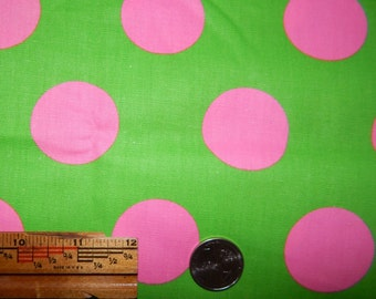 vintage polka dot fabric bright green pink 1 yd 27 inches plus 44 in wide mod 70s hippie groovy neon far out
