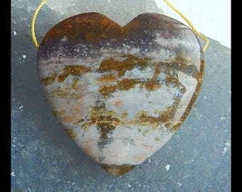 Natural Ocean Jasper Gemstone Heart Pendant Bead,36x35x9mm,16.5g(e0093)