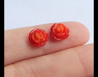 Carved Red Bamboo Coral Flower Cabochon Pair,8x6mm,0.6g