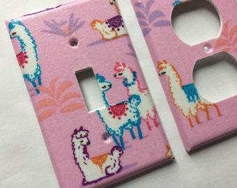 Llama Light Switch Cover / Single Light Switch Plate / Pink Nursery Decor / Llama Nursery Decor / Teen Room Decor / Rainbow Decor Llama Gift