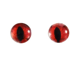 8mm Red Cat Glass Eye Cabochons - Evil Eyes for Doll or Jewelry Making - Set of 2