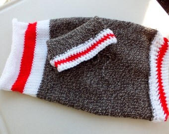 """Hand Knit Sock Monkey Dog Sweater with hat Size Large 18"""" Long"""