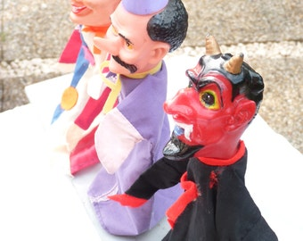 8 Vintage French Puppets Children Toys - Hand Puppets - Animal Toys - Puppets Guignol -  Children's Theater - Doll Head - Marionette