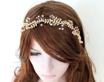 Gold Leaf Vine Bridal Headpiece. Boho Delicate Silver Crystal Pearl wedding Wreath. Halo Headband. Rhinestone Hairpiece, Tiara. JUNE