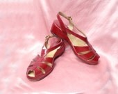 1940s Red Platform Wedgies - Vintage Peeptoe Sandals with Sling Backs - Wedge Heel Shoes - 7