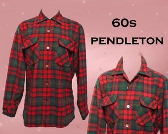 Plaid Wool Shirt, Mens Vintage 1960s Pendleton Plaid Button Down, Red and Green Tartan Plaid, Vintage Woolen Shirt, Stranger Things Clothing