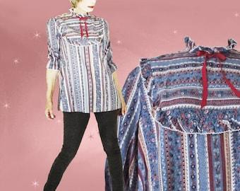Vintage Boho Maternity Blouse - 70s Long Loose Top - Peasant Smock