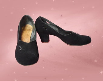 40s Pumps are Black Suede Pumps with Low Heel for Swing Dancing, 1940s Swing Dancing Shoes for WWII Reenactment