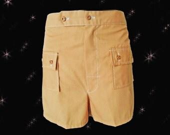 Mens Vintage Swim Trunks - 1960s Mens Swim Suit - Flat Front Shorts -Womens Hip Hugger Shorts -Mens Swimsuits -MINT Condition Size L