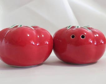 Vintage Arcadia Red Tomato Salt and Pepper Shakers