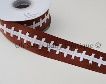 """1.5"""" Brown Football Grosgrain Ribbon"""