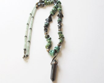 Turquoise Necklace with Hematite Pendant Vintage Turquoise Necklace