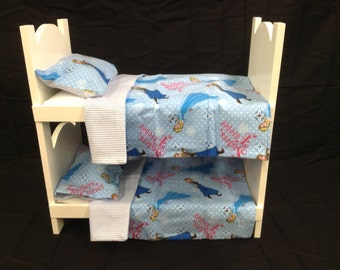 Doll bunk bed for american girl 18 inch dolls White. FROZEN BEDDING