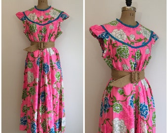 Vintage 1960s Liberty House Pink Hawaiian Dress 60s Bete Collection Hawaii