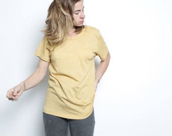 vintage FADED yellow t-shirt SCOOP neck slouchy basic normcore shirt