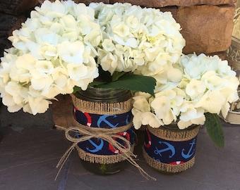 Mason Jar Wrap, Natutical, Ocean, Beach, Sailing, Mason Jar Decoration, Baby Shower, Party, Wedding Decoration